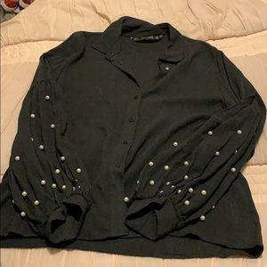 Zara pearl sleeve shirt